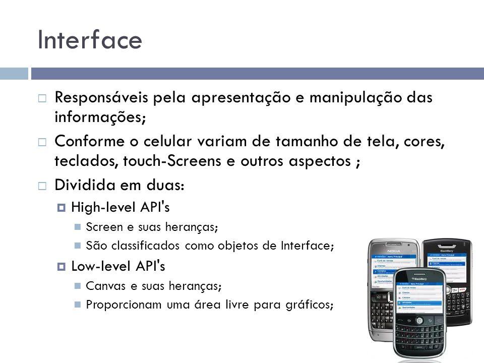 Interface Responsáveis pela apresentação e manipulação das informações; Conforme o celular variam de tamanho de tela, cores, teclados, touch-Screens e