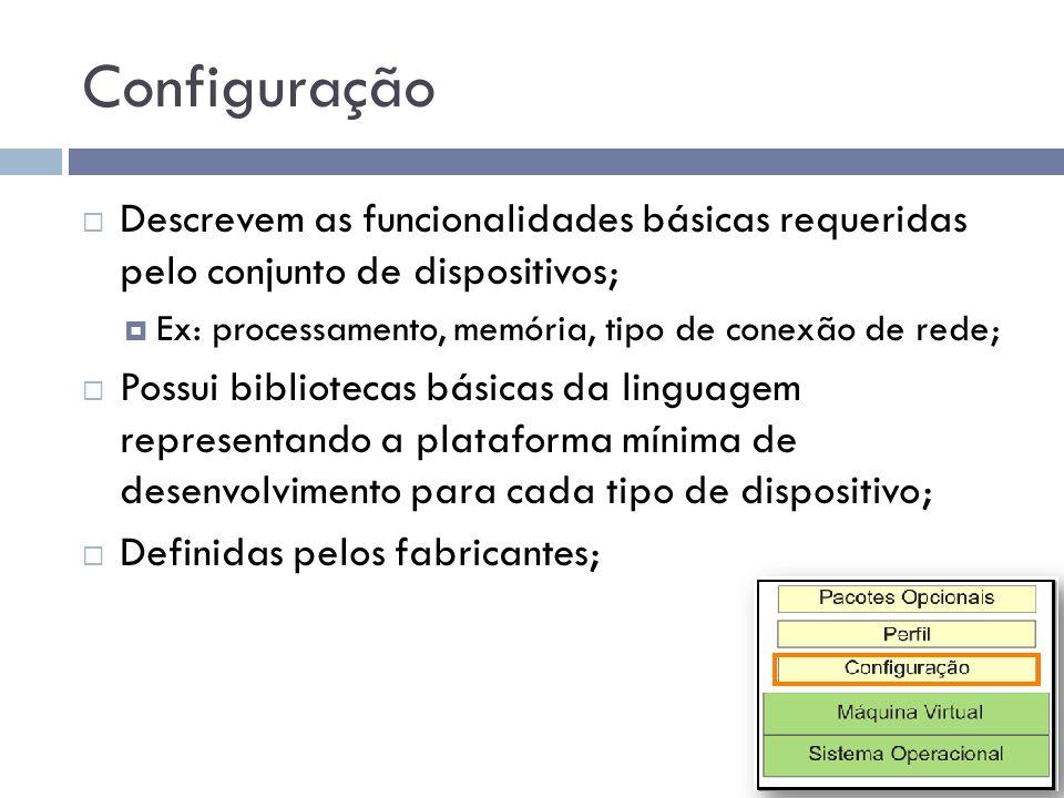 Configuração Descrevem as funcionalidades básicas requeridas pelo conjunto de dispositivos; Ex: processamento, memória, tipo de conexão de rede; Possu