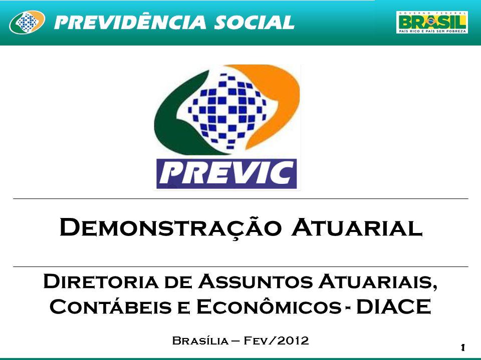 1 1 Demonstração Atuarial Diretoria de Assuntos Atuariais, Contábeis e Econômicos - DIACE Brasília – Fev/2012