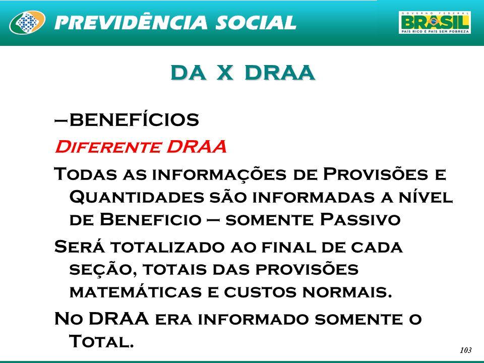 103 DA X DRAA –BENEFÍCIOS Diferente DRAA Todas as informações de Provisões e Quantidades são informadas a nível de Beneficio – somente Passivo Será to