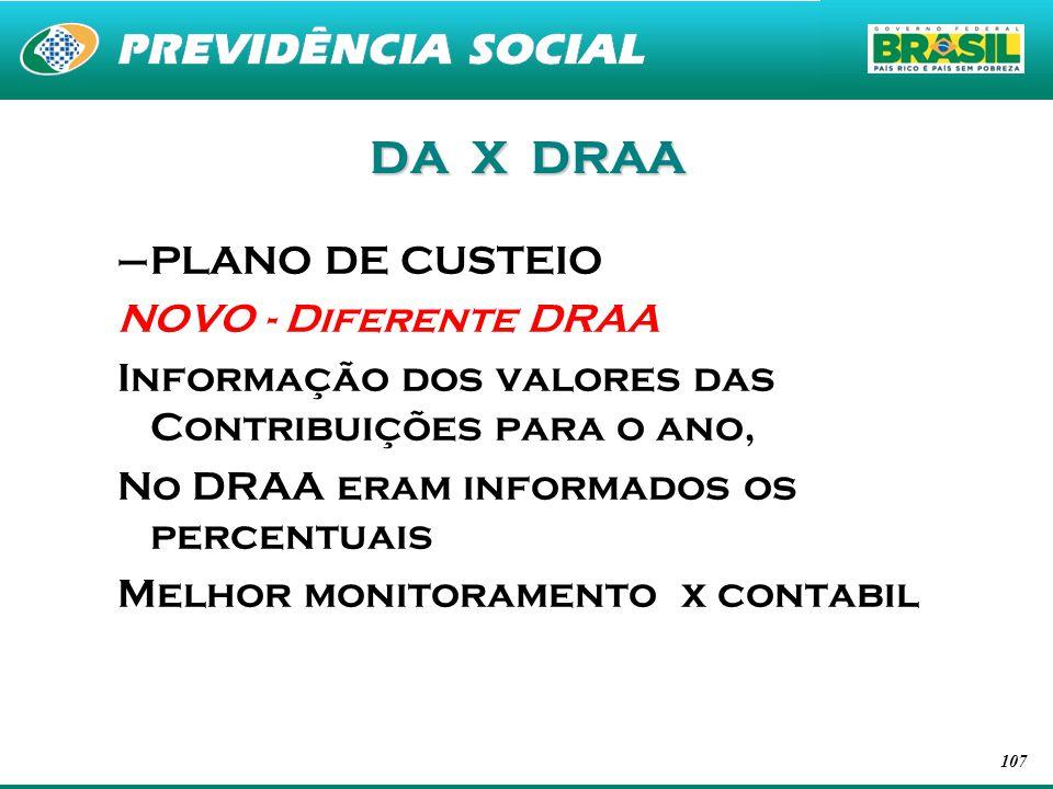 107 DA X DRAA –PLANO DE CUSTEIO NOVO - Diferente DRAA Informação dos valores das Contribuições para o ano, No DRAA eram informados os percentuais Melh