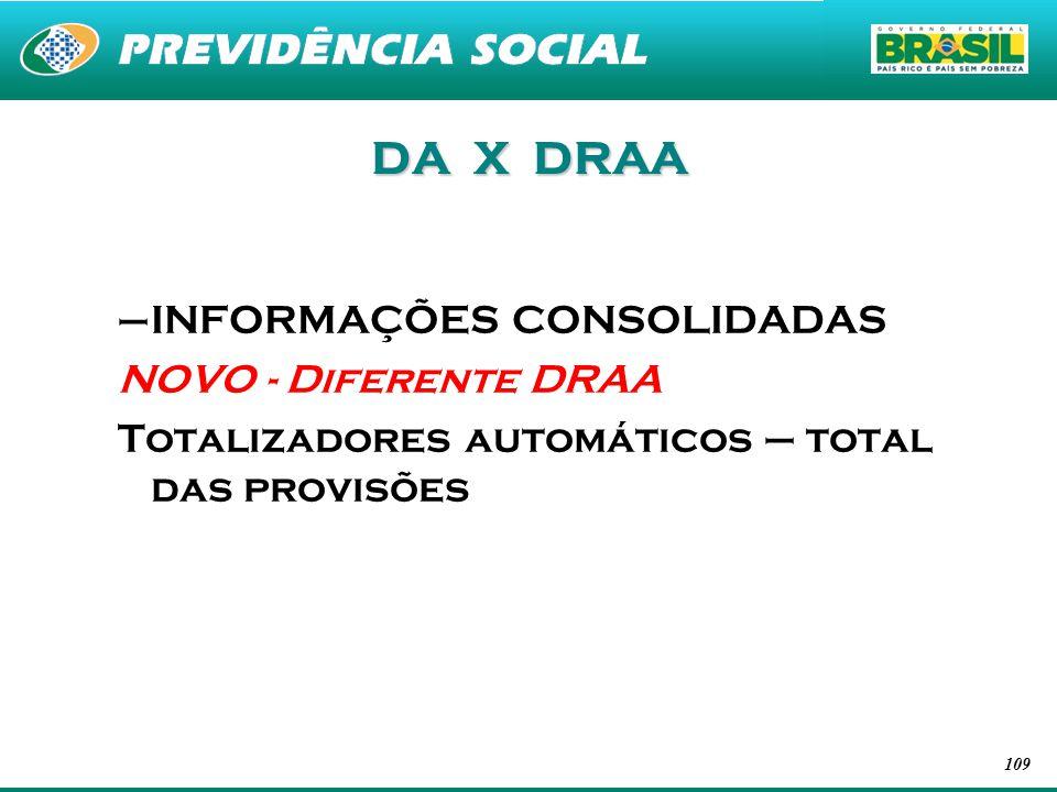 109 DA X DRAA –INFORMAÇÕES CONSOLIDADAS NOVO - Diferente DRAA Totalizadores automáticos – total das provisões