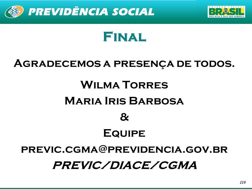 110 Final Agradecemos a presença de todos. Wilma Torres Maria Iris Barbosa & Equipe previc.cgma@previdencia.gov.br PREVIC/DIACE/CGMA