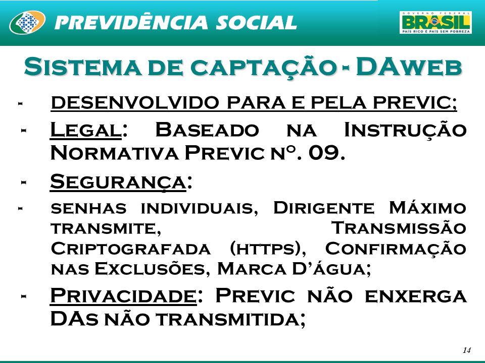 14 Sistema de captação - DAweb -DESENVOLVIDO PARA E PELA PREVIC; -Legal: Baseado na Instrução Normativa Previc n o. 09. -Segurança: -senhas individuai