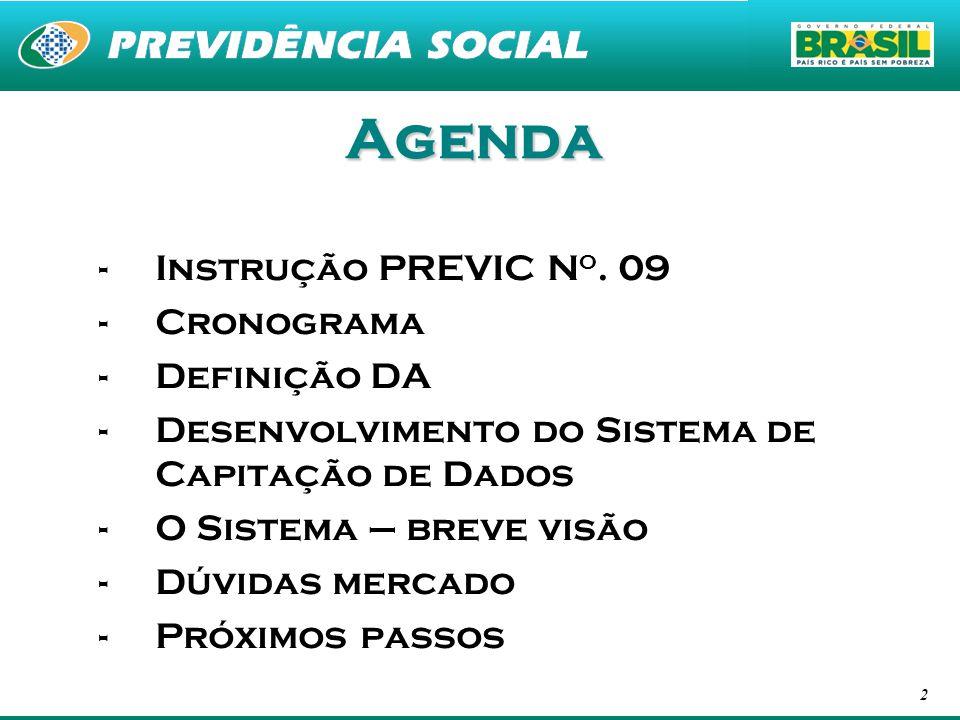 2 Agenda -Instrução PREVIC N o. 09 -Cronograma -Definição DA -Desenvolvimento do Sistema de Capitação de Dados -O Sistema – breve visão -Dúvidas merca