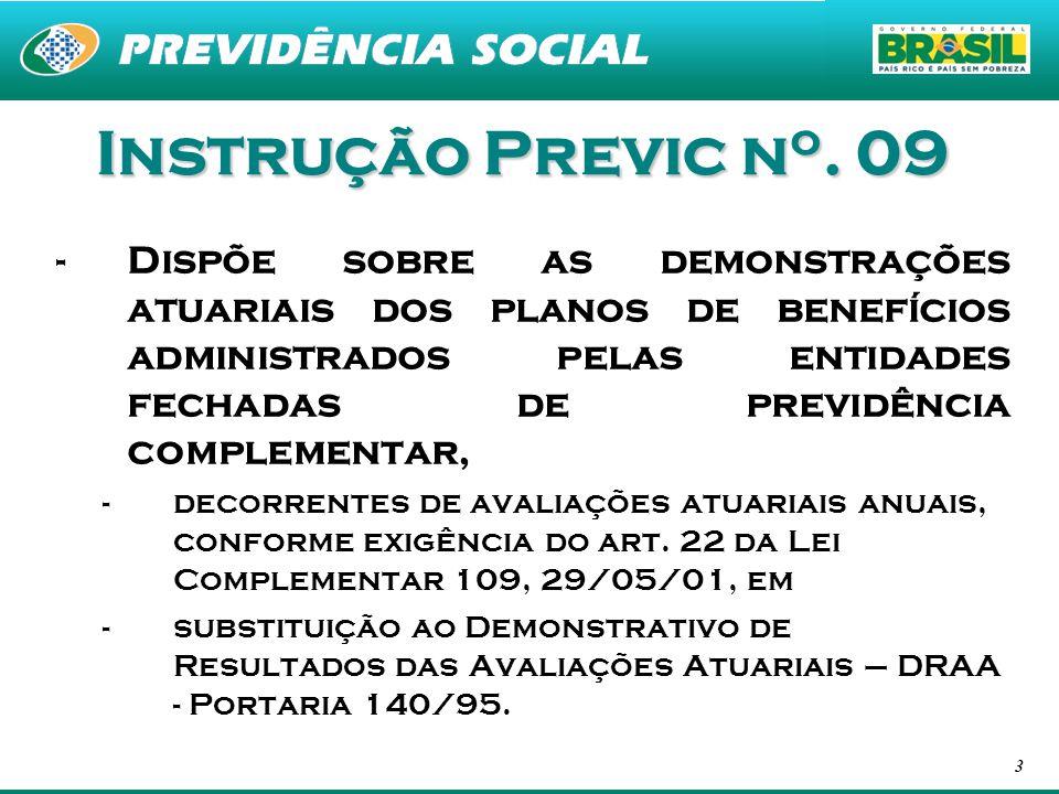3 Instrução Previc n o. 09 -Dispõe sobre as demonstrações atuariais dos planos de benefícios administrados pelas entidades fechadas de previdência com