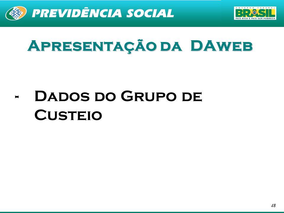 48 Apresentação da DAweb -Dados do Grupo de Custeio