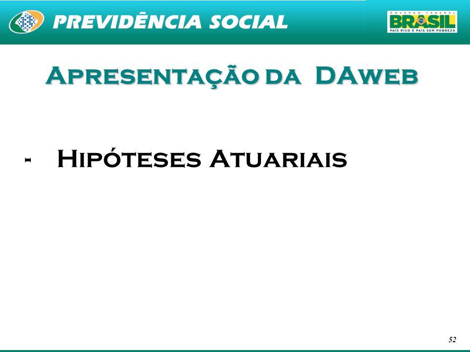 52 Apresentação da DAweb -Hipóteses Atuariais