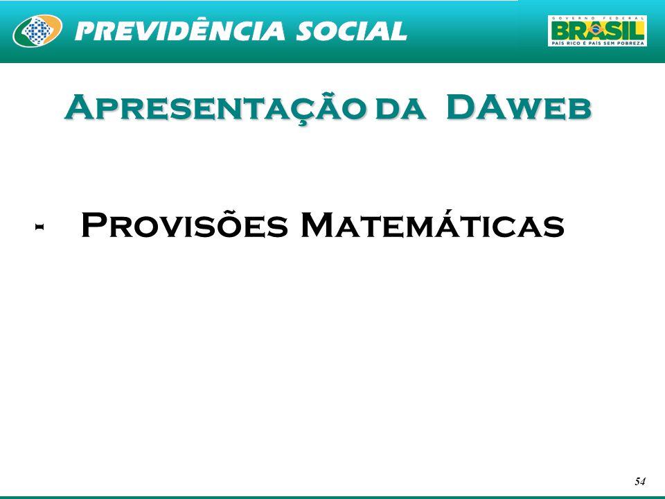 54 Apresentação da DAweb -Provisões Matemáticas