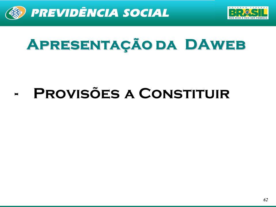 62 Apresentação da DAweb -Provisões a Constituir