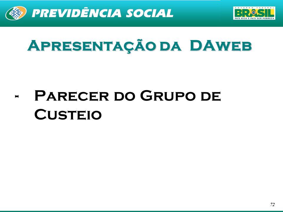 72 Apresentação da DAweb -Parecer do Grupo de Custeio