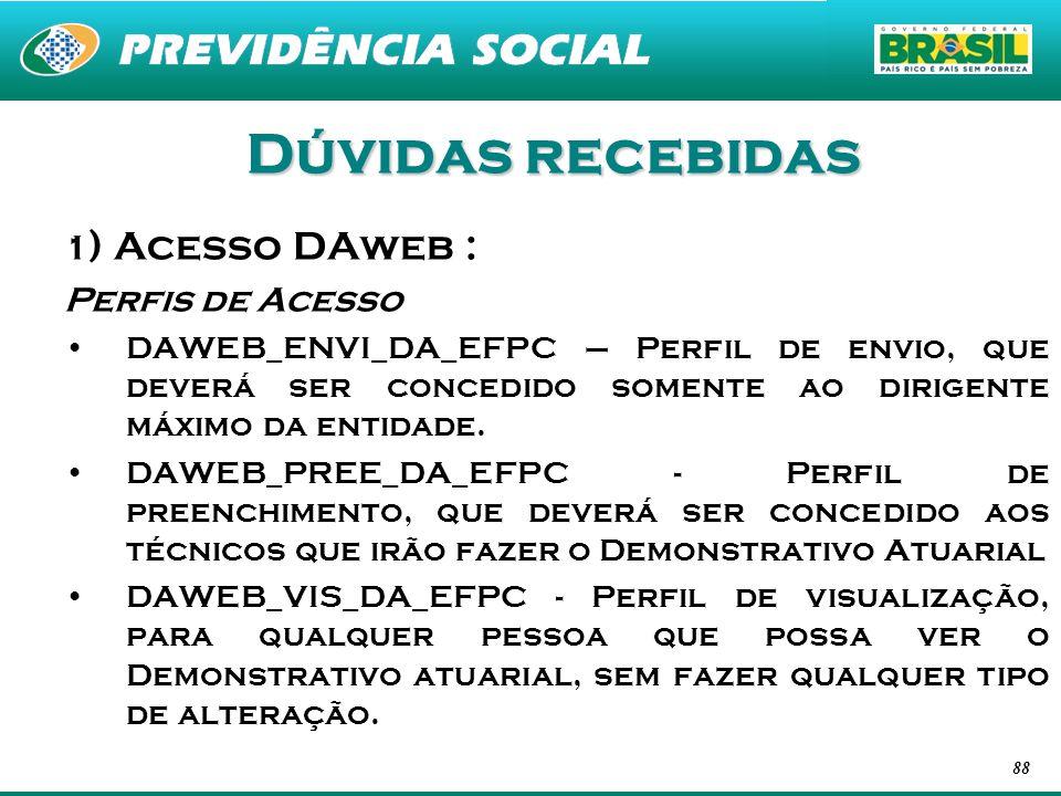 88 Dúvidas recebidas 1 ) Acesso DAweb : Perfis de Acesso DAWEB_ENVI_DA_EFPC – Perfil de envio, que deverá ser concedido somente ao dirigente máximo da