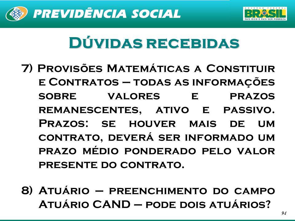 94 Dúvidas recebidas 7) Provisões Matemáticas a Constituir e Contratos – todas as informações sobre valores e prazos remanescentes, ativo e passivo. P