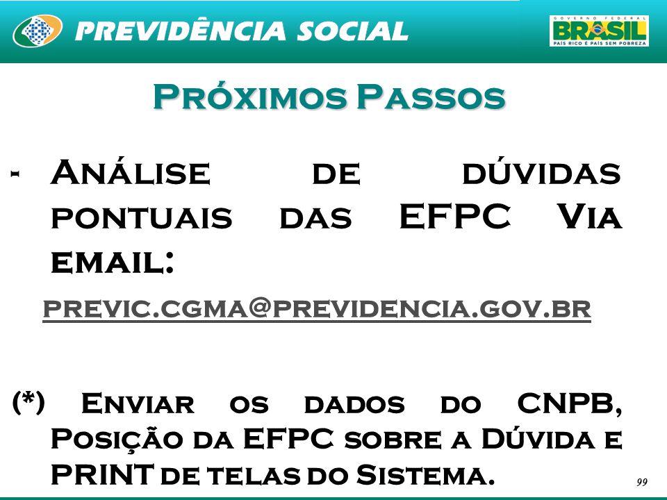 99 Próximos Passos -Análise de dúvidas pontuais das EFPC Via email: previc.cgma@previdencia.gov.br (*) Enviar os dados do CNPB, Posição da EFPC sobre