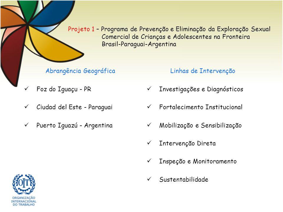 Projeto 1 – Programa de Prevenção e Eliminação da Exploração Sexual Comercial de Crianças e Adolescentes na Fronteira Brasil-Paraguai-Argentina Abrang
