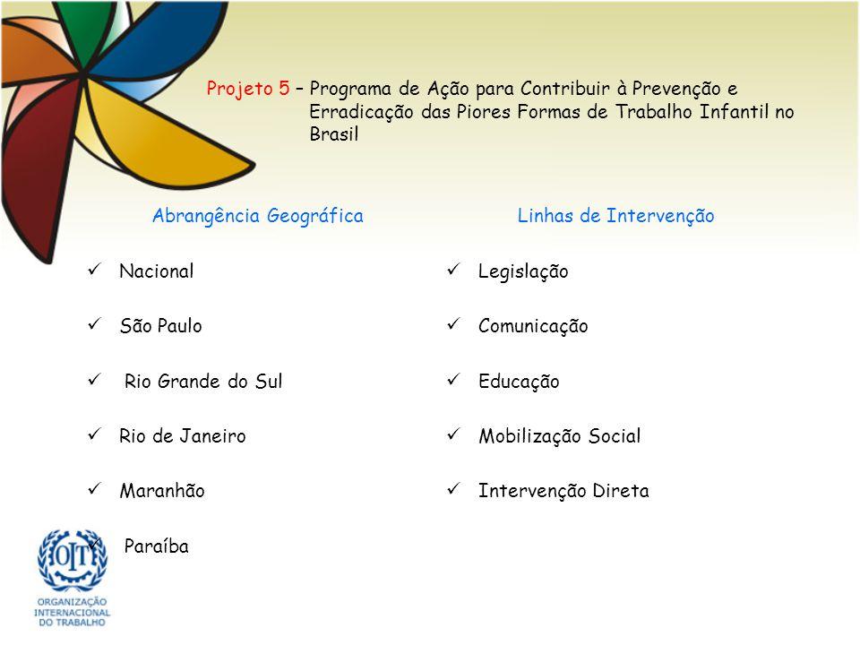 Projeto 5 – Programa de Ação para Contribuir à Prevenção e Erradicação das Piores Formas de Trabalho Infantil no Brasil Abrangência Geográfica Naciona