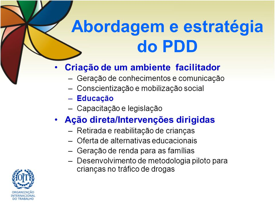 Abordagem e estratégia do PDD Criação de um ambiente facilitador –Geração de conhecimentos e comunicação –Conscientização e mobilização social –Educaç