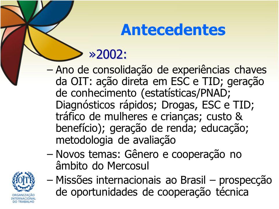 Antecedentes »2002: –Ano de consolidação de experiências chaves da OIT: ação direta em ESC e TID; geração de conhecimento (estatísticas/PNAD; Diagnóst