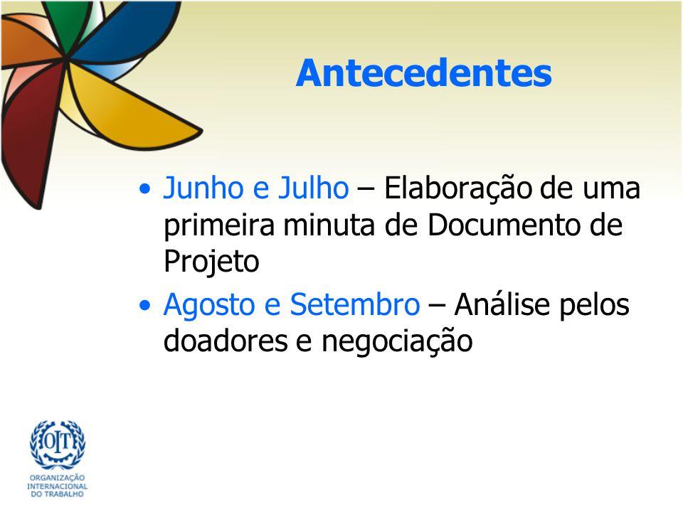 Antecedentes Junho e Julho – Elaboração de uma primeira minuta de Documento de Projeto Agosto e Setembro – Análise pelos doadores e negociação