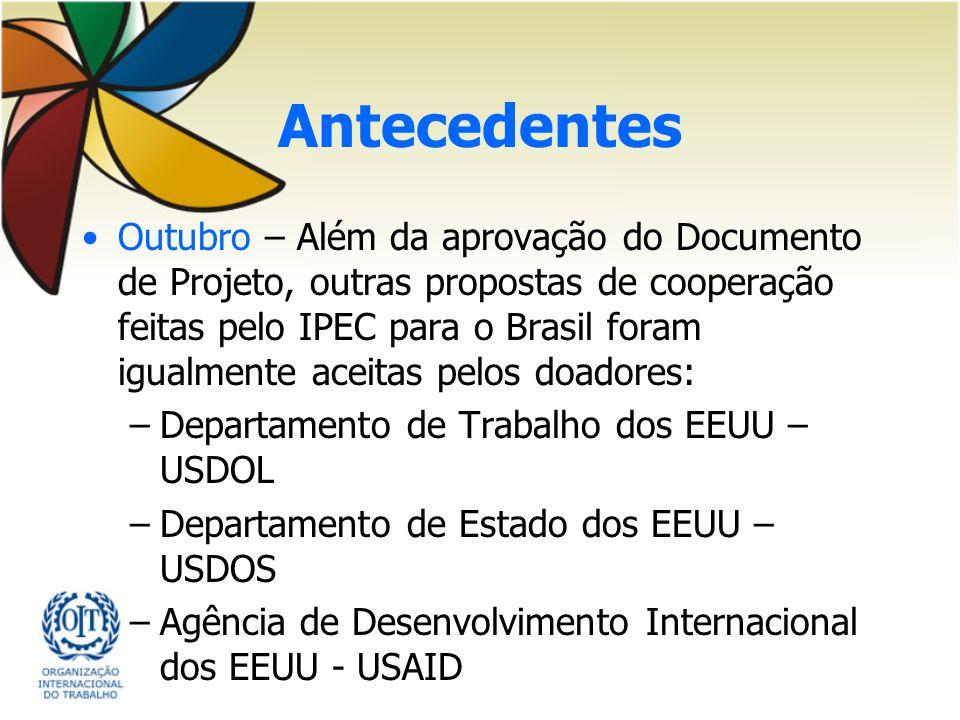 Antecedentes Outubro – Além da aprovação do Documento de Projeto, outras propostas de cooperação feitas pelo IPEC para o Brasil foram igualmente aceit