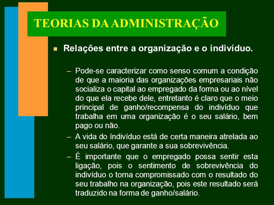 TEORIAS DA ADMINISTRAÇÃO n Relações entre a organização e o indivíduo.