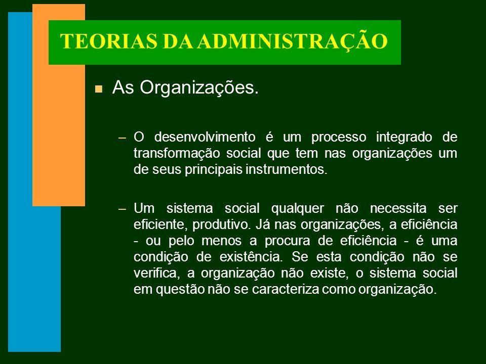 TEORIAS DA ADMINISTRAÇÃO n Objetivos da Organização.