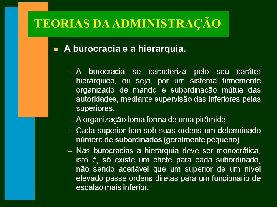 TEORIAS DA ADMINISTRAÇÃO n A burocracia e a hierarquia.