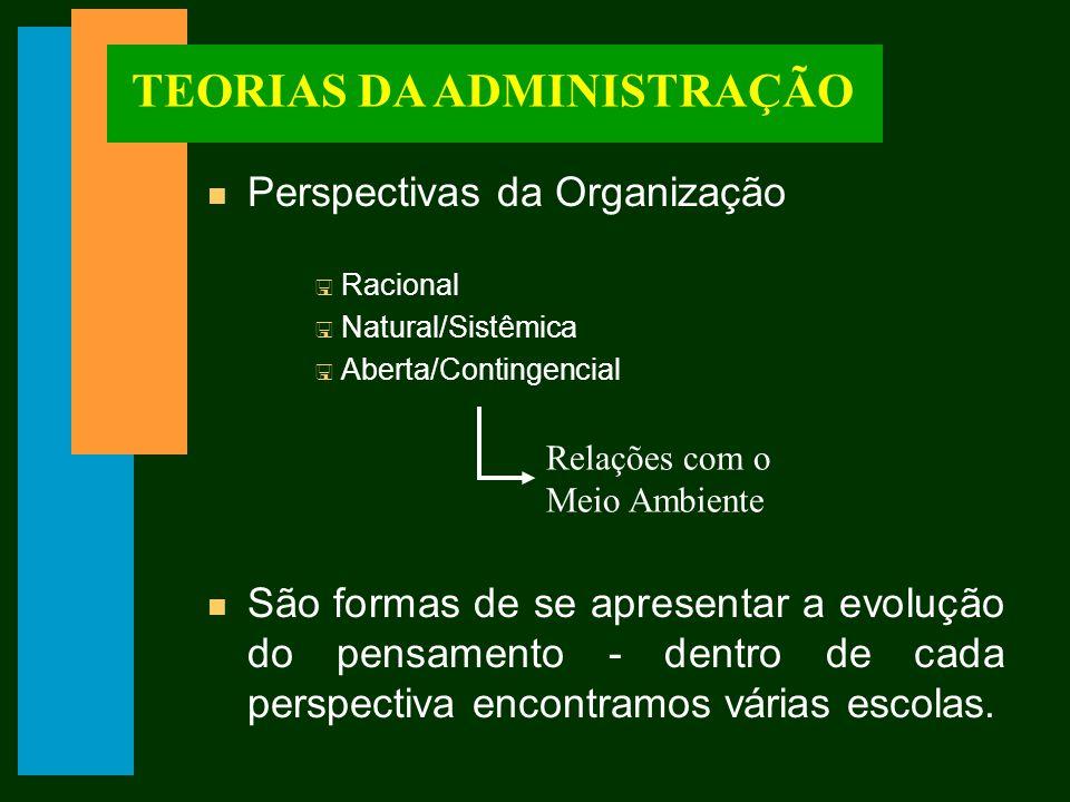 TEORIAS DA ADMINISTRAÇÃO n Perspectivas da Organização < Racional < Natural/Sistêmica < Aberta/Contingencial n São formas de se apresentar a evolução do pensamento - dentro de cada perspectiva encontramos várias escolas.