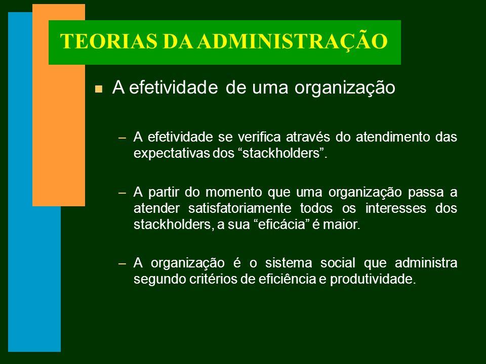 TEORIAS DA ADMINISTRAÇÃO n A efetividade de uma organização –A efetividade se verifica através do atendimento das expectativas dos stackholders.