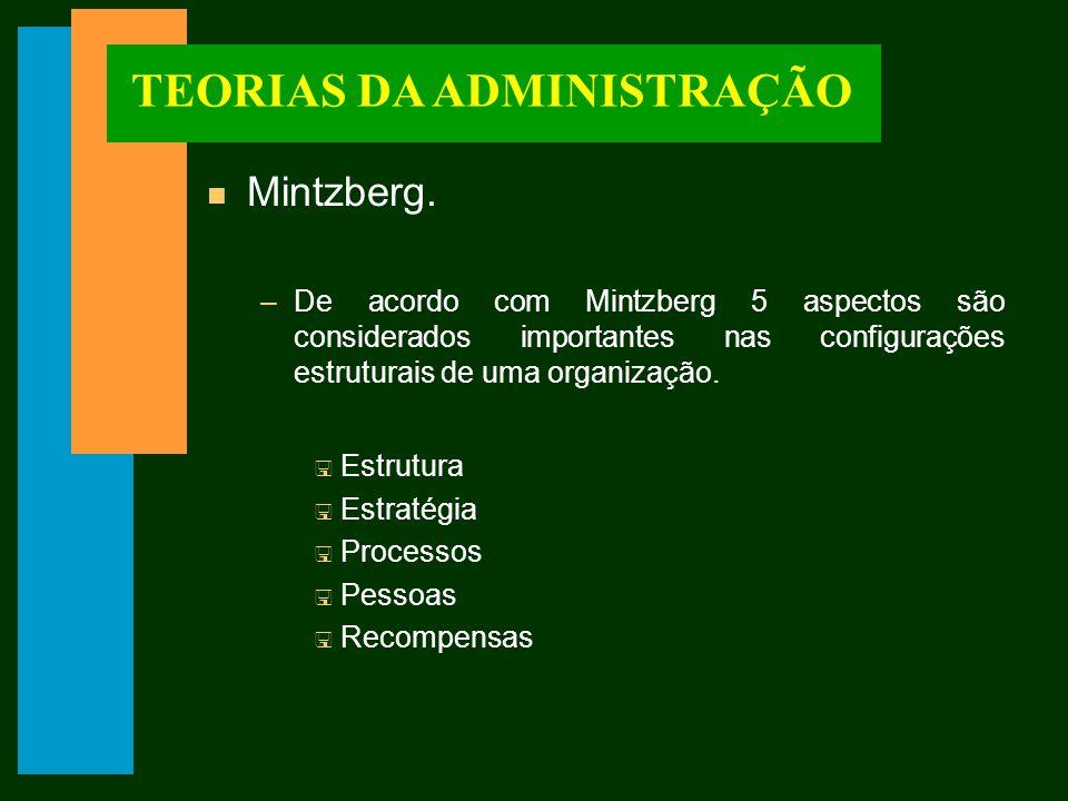 TEORIAS DA ADMINISTRAÇÃO n Mintzberg.