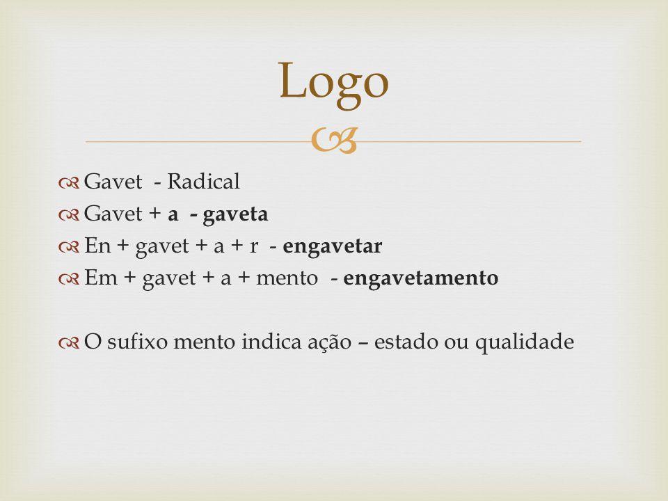 Gavet - Radical Gavet + a - gaveta En + gavet + a + r - engavetar Em + gavet + a + mento - engavetamento O sufixo mento indica ação – estado ou qualid