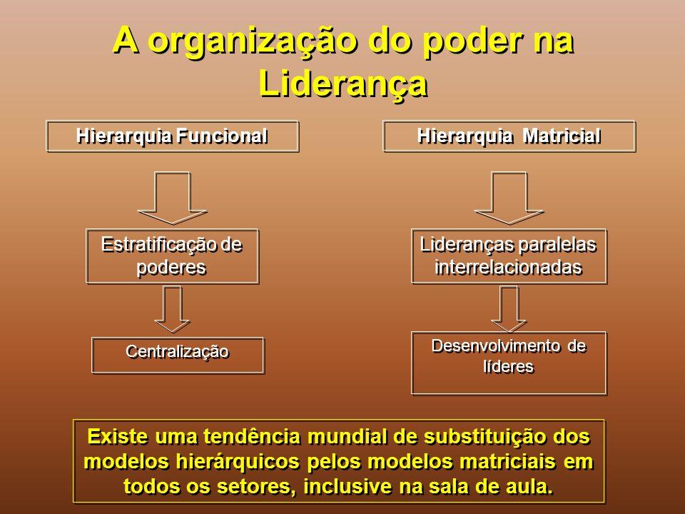 A organização do poder na Liderança Hierarquia Funcional Hierarquia Matricial Estratificação de poderes Centralização Lideranças paralelas interrelaci