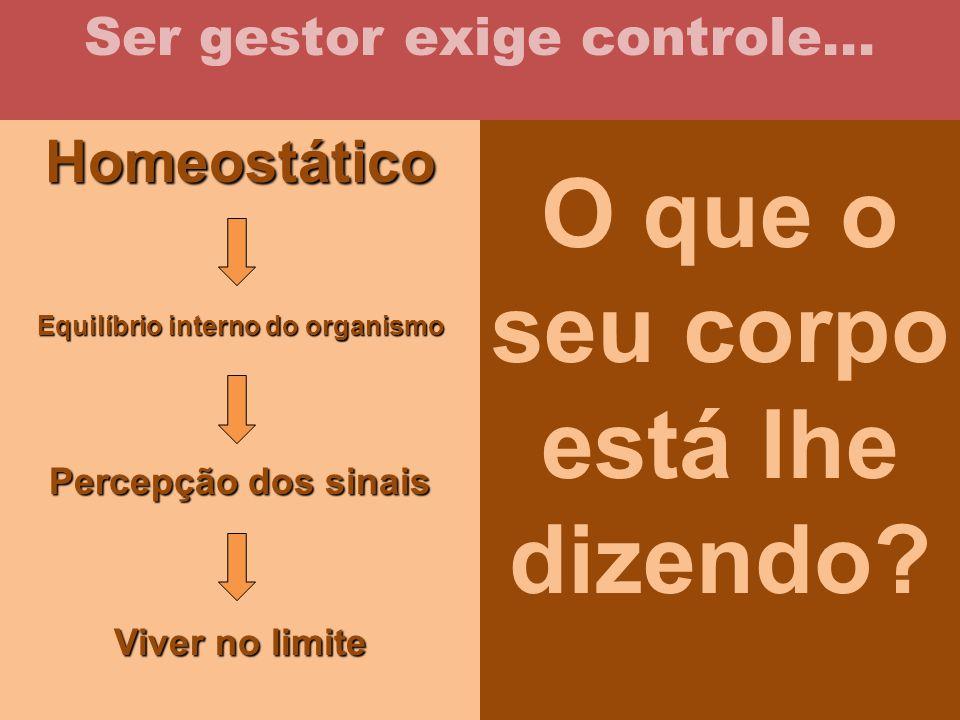 Homeostático Equilíbrio interno do organismo Percepção dos sinais Viver no limite Ser gestor exige controle... O que o seu corpo está lhe dizendo?