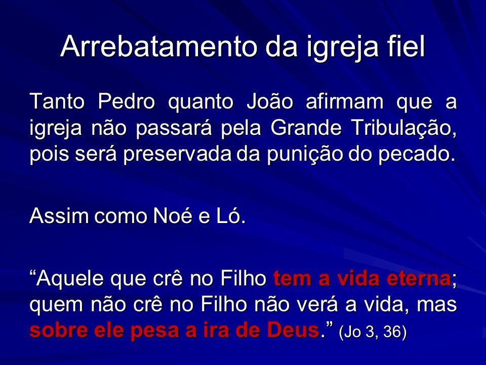 Tanto Pedro quanto João afirmam que a igreja não passará pela Grande Tribulação, pois será preservada da punição do pecado. Assim como Noé e Ló. Aquel