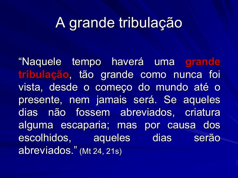 A grande tribulação Naquele tempo haverá uma grande tribulação, tão grande como nunca foi vista, desde o começo do mundo até o presente, nem jamais se