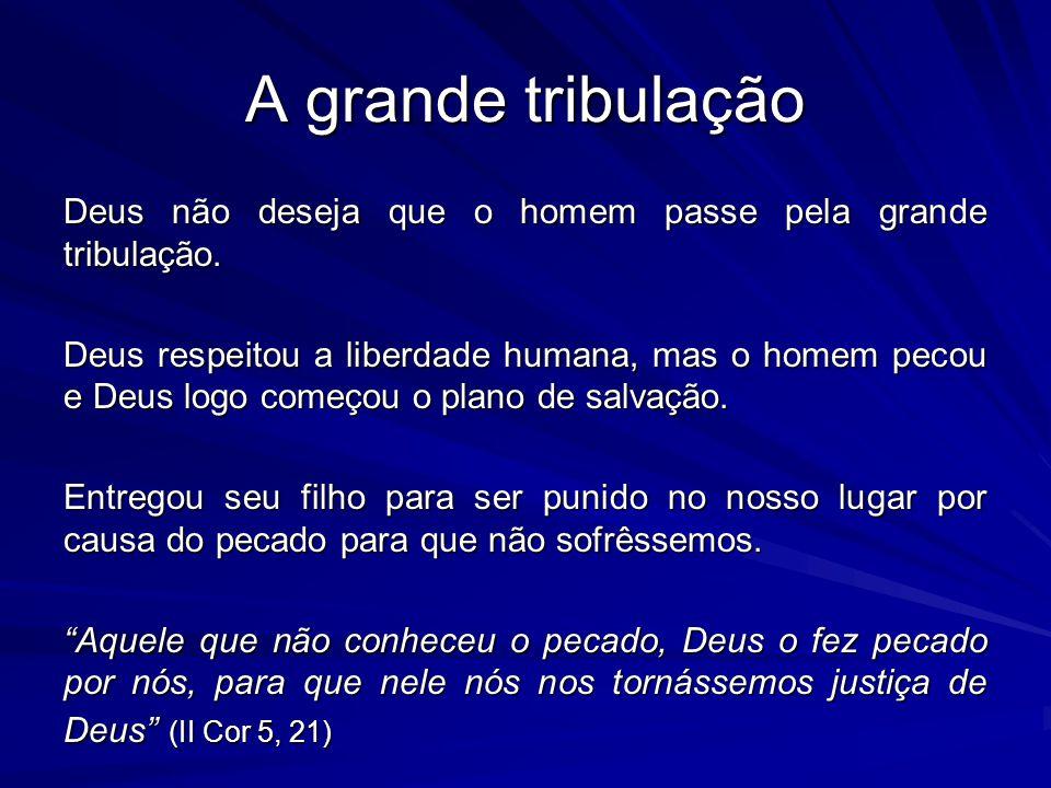 A grande tribulação Deus não deseja que o homem passe pela grande tribulação. Deus respeitou a liberdade humana, mas o homem pecou e Deus logo começou