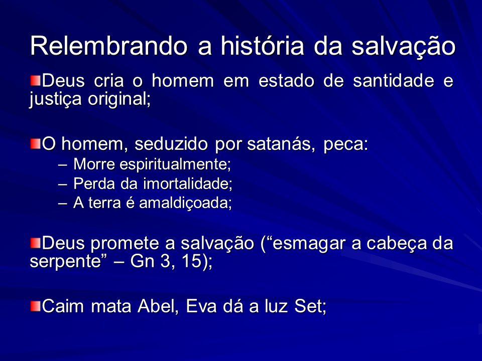Relembrando a história da salvação Deus cria o homem em estado de santidade e justiça original; O homem, seduzido por satanás, peca: –Morre espiritualmente; –Perda da imortalidade; –A terra é amaldiçoada; Deus promete a salvação (esmagar a cabeça da serpente – Gn 3, 15); Caim mata Abel, Eva dá a luz Set;