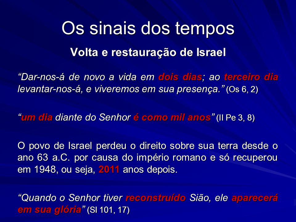 Os sinais dos tempos Volta e restauração de Israel Dar-nos-á de novo a vida em dois dias; ao terceiro dia levantar-nos-á, e viveremos em sua presença.