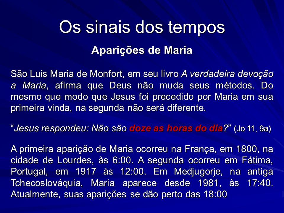Os sinais dos tempos Aparições de Maria São Luis Maria de Monfort, em seu livro A verdadeira devoção a Maria, afirma que Deus não muda seus métodos.