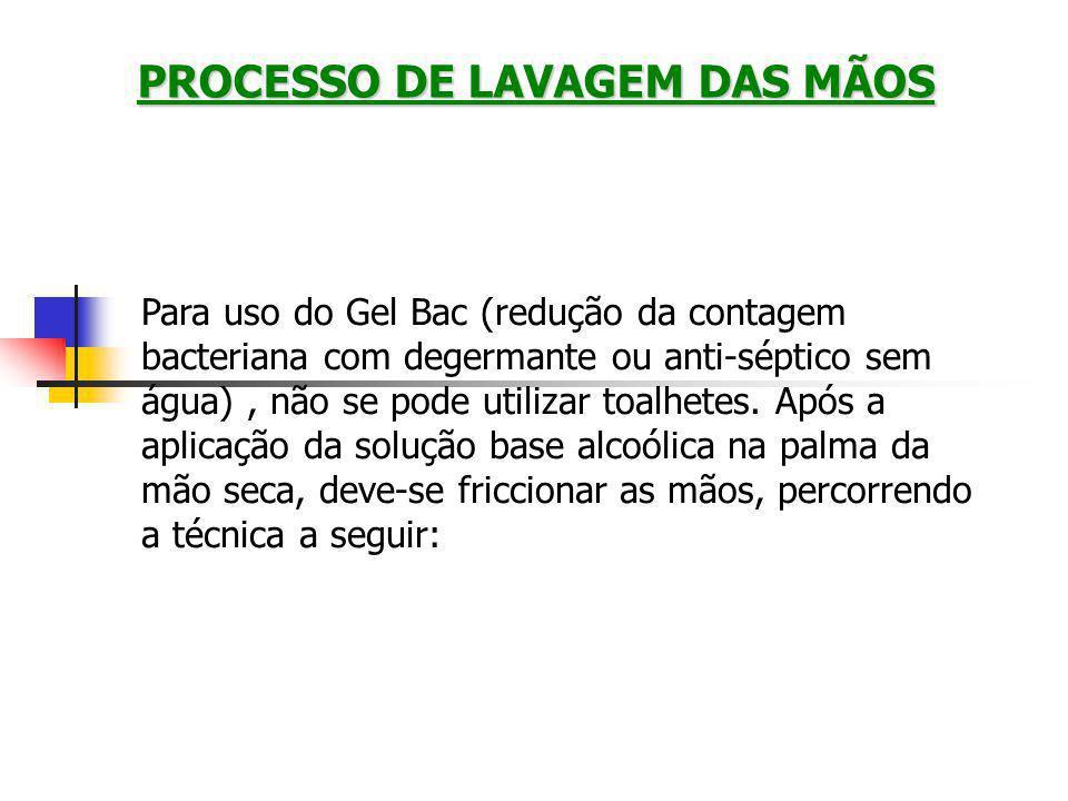 Para uso do Gel Bac (redução da contagem bacteriana com degermante ou anti-séptico sem água), não se pode utilizar toalhetes.
