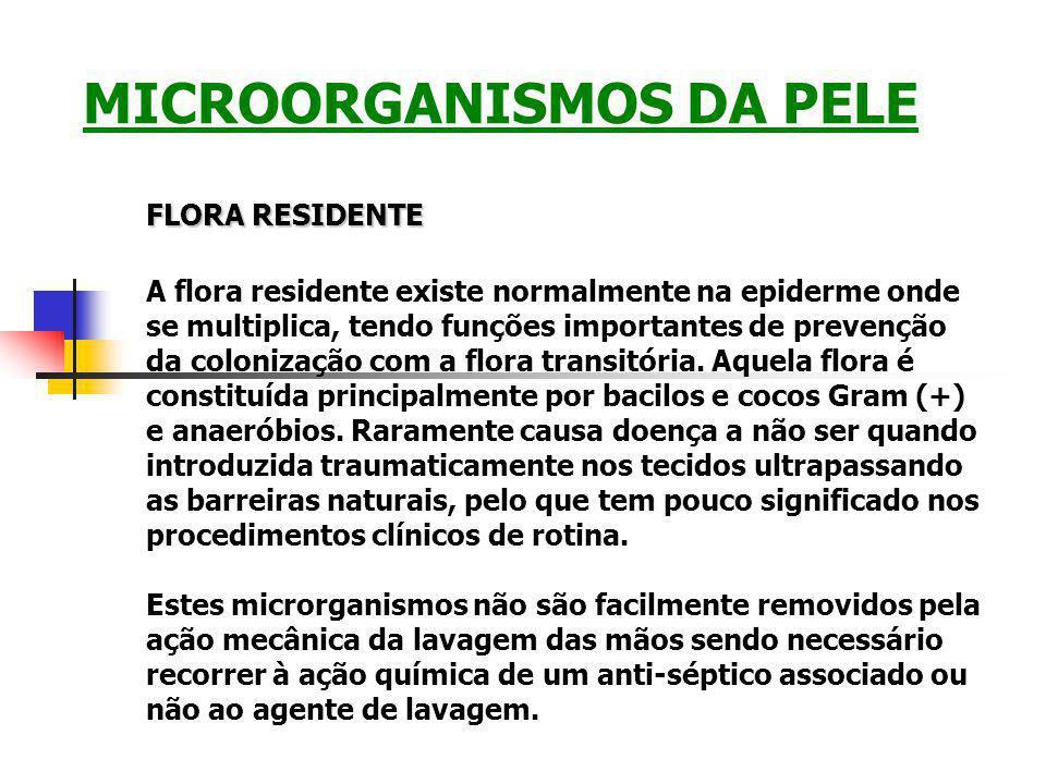 FLORA RESIDENTE A flora residente existe normalmente na epiderme onde se multiplica, tendo funções importantes de prevenção da colonização com a flora transitória.