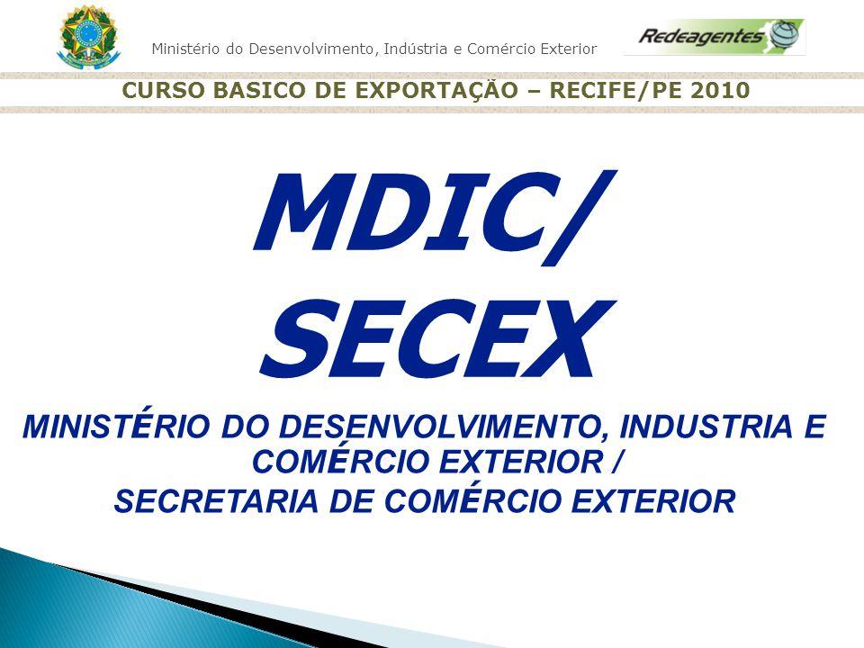 Ministério do Desenvolvimento, Indústria e Comércio Exterior CURSO BASICO DE EXPORTAÇÃO – RECIFE/PE 2010 MINIST É RIO DO DESENVOLVIMENTO, INDUSTRIA E