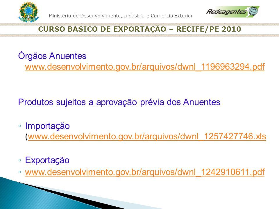 Ministério do Desenvolvimento, Indústria e Comércio Exterior CURSO BASICO DE EXPORTAÇÃO – RECIFE/PE 2010 Órgãos Anuentes www.desenvolvimento.gov.br/ar