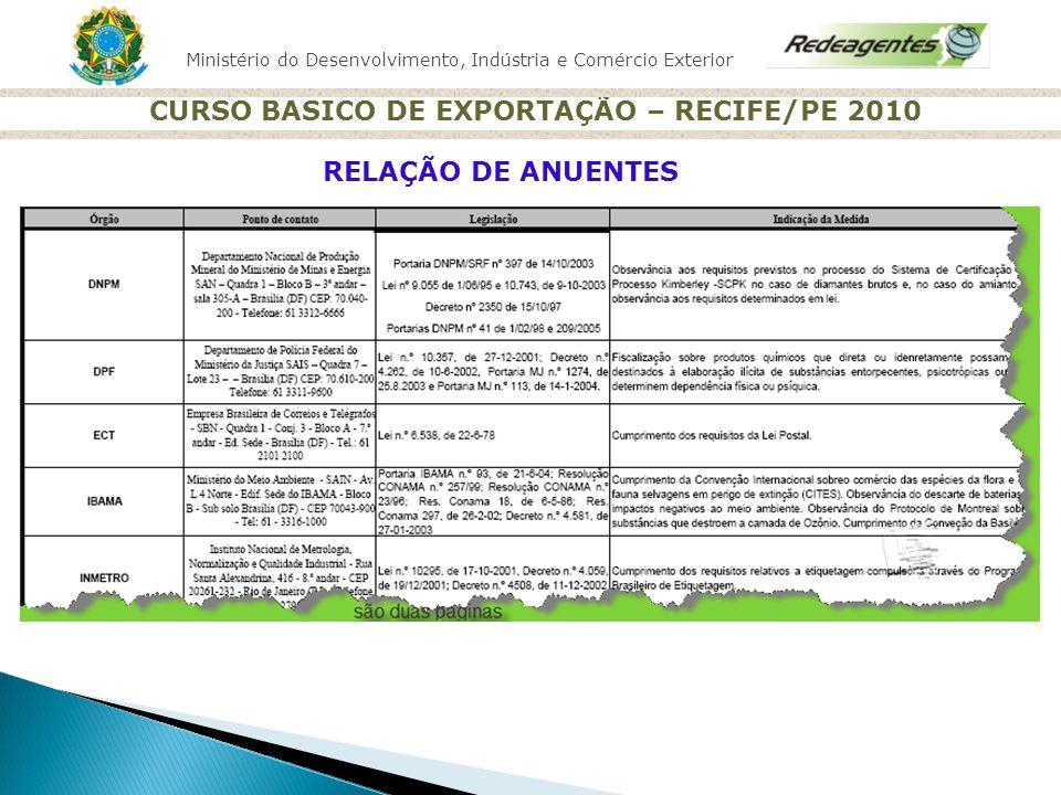 Ministério do Desenvolvimento, Indústria e Comércio Exterior CURSO BASICO DE EXPORTAÇÃO – RECIFE/PE 2010 RELAÇÃO DE ANUENTES