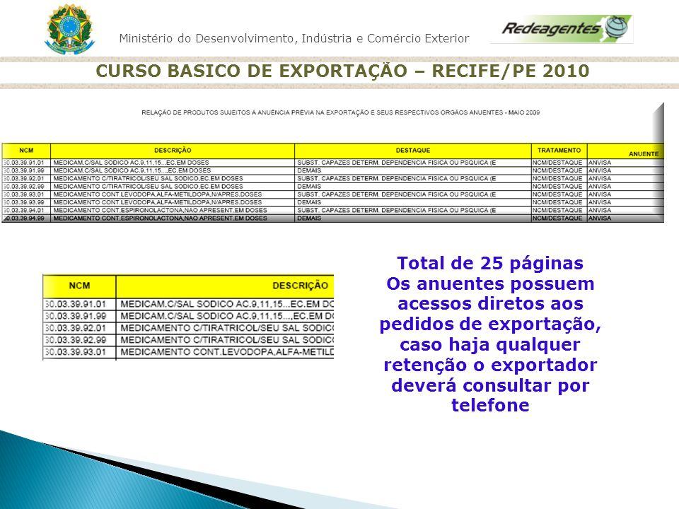 Ministério do Desenvolvimento, Indústria e Comércio Exterior CURSO BASICO DE EXPORTAÇÃO – RECIFE/PE 2010 Total de 25 páginas Os anuentes possuem acess