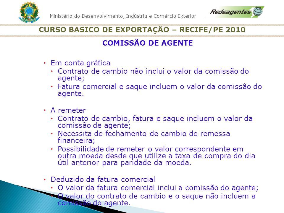 Ministério do Desenvolvimento, Indústria e Comércio Exterior CURSO BASICO DE EXPORTAÇÃO – RECIFE/PE 2010 Em conta gráfica Contrato de cambio não inclu