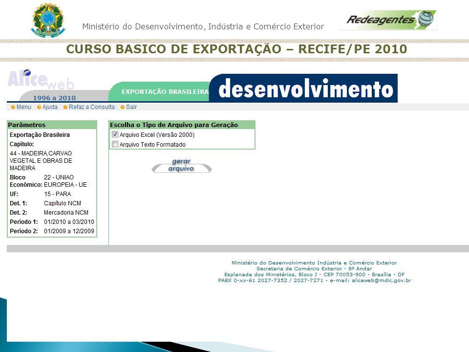 Ministério do Desenvolvimento, Indústria e Comércio Exterior CURSO BASICO DE EXPORTAÇÃO – RECIFE/PE 2010