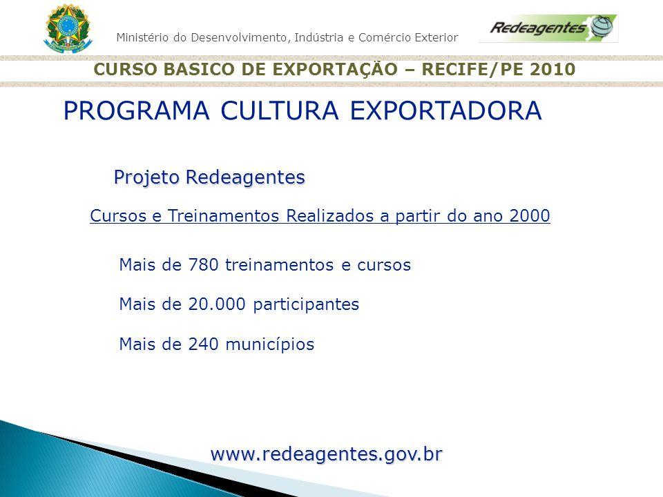 Ministério do Desenvolvimento, Indústria e Comércio Exterior CURSO BASICO DE EXPORTAÇÃO – RECIFE/PE 2010 Projeto Redeagentes Cursos e Treinamentos Rea