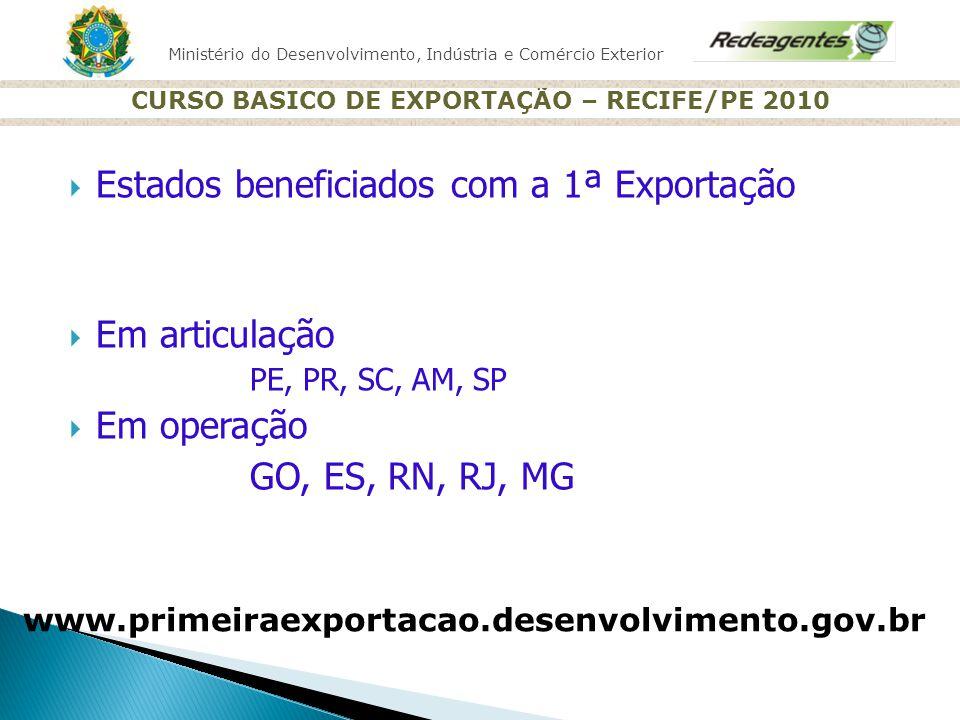 Ministério do Desenvolvimento, Indústria e Comércio Exterior CURSO BASICO DE EXPORTAÇÃO – RECIFE/PE 2010 Estados beneficiados com a 1 ª Exporta ç ão E