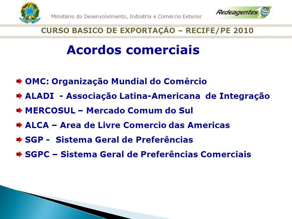 Ministério do Desenvolvimento, Indústria e Comércio Exterior CURSO BASICO DE EXPORTAÇÃO – RECIFE/PE 2010 Acordos comerciais OMC: Organização Mundial d